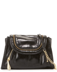 Hobo Zandra Zip Trim Leather Crossbody Bag Black