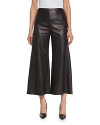 Adam lippes plonge leather wide leg culottes black medium 4991354