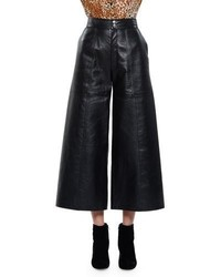 Saint Laurent High Waist Leather Culottes Washed Black