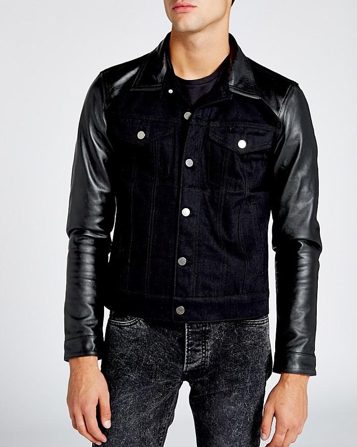 e8b5e76fc $495, The Kooples Leather Sleeve Denim Jacket