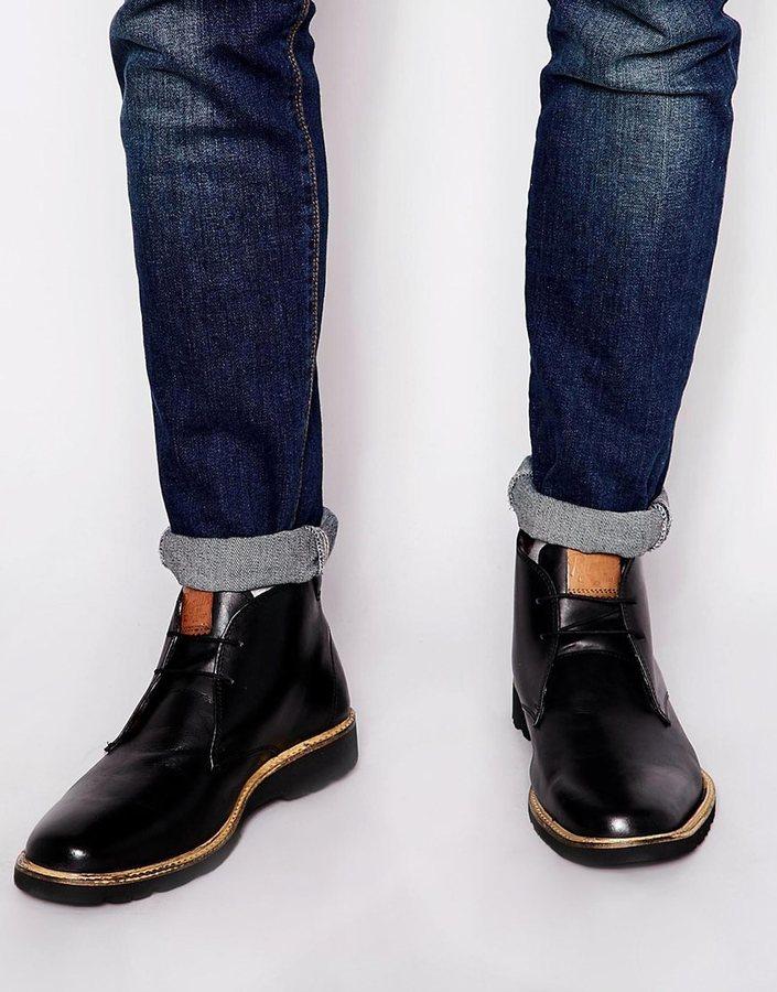 black leather desert boots mens