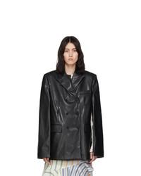 We11done Black Faux Leather Cape Blazer
