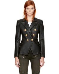 Balmain Black Leather Six Button Blazer