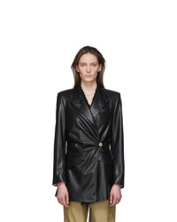 Nanushka Black Vegan Leather Blair Hourglass Blazer