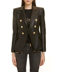 Balmain Double Breasted Leather Blazer