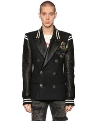 Faith Connexion Double Breasted Wool Leather Jacket