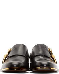 Versace Black Double Monk Strap Shoes