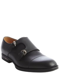 Gucci Black Leather Cap Toe Monk Strap Loafers