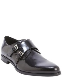 Prada Black Leather Monk Strap Loafers
