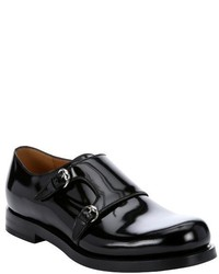 Gucci Black Patent Leather Monk Strap Loafers