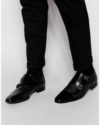 Asos Brand Double Monk Shoes In Black Leather