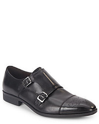 Saks Fifth Avenue Connery Leather Double Monk Strap Shoes