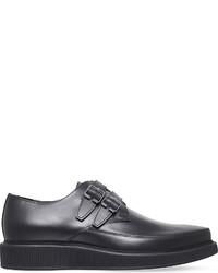 Lanvin Double Buckle Leather Monk Shoes