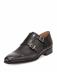 Magnanni For Neiman Marcus Hand Antiqued Double Monk Loafer Black