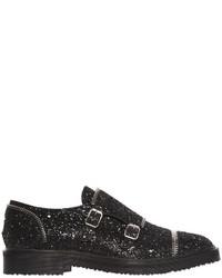 Giuseppe Zanotti Design Glittered Leather Monk Shoes