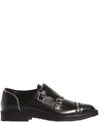 Giuseppe Zanotti Design Zip Trimmed Leather Monk Shoes
