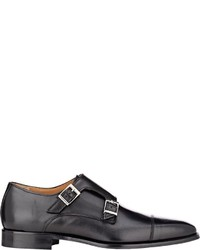 c13cc37852be ... Barneys New York Leather Double Monk Strap Shoes Black Size 95