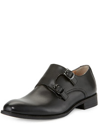 Neiman Marcus Luther Double Monk Leather Loafer Black