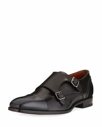 Ermenegildo Zegna Milano Double Monk Leather Shoe Black