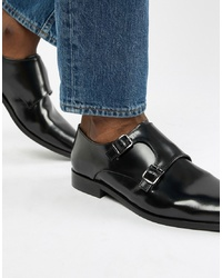 Dune Monk Shoes In Black Hi Shine Leather
