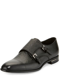 Saffiano leather double monk shoe black medium 584628