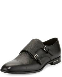 Prada Saffiano Leather Double Monk Shoe Black