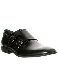 Steve Madden Devito Leather Double Monk Strap Shoes Black Size 11