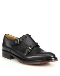 Valentino Studded Leather Double Monk Strap Shoes