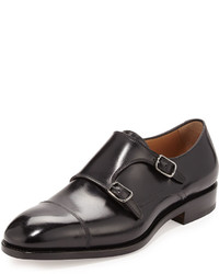 Tramezza calfskin double monk shoe black medium 588779