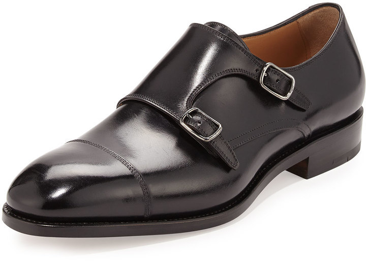 049a0f643e15 ... Salvatore Ferragamo Tramezza Calfskin Double Monk Shoe Black ...
