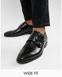 Dune Wide Fit Monk Shoes In Black Hi Shine Leather