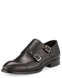 Zanzara Strauss Double Monk Leather Loafer Black