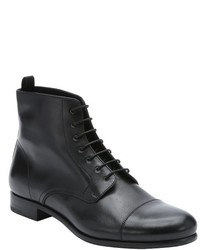 Prada Dark Brown Leather Lace Up Ankle Boots