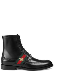Gucci Leather Boot With Bee Web