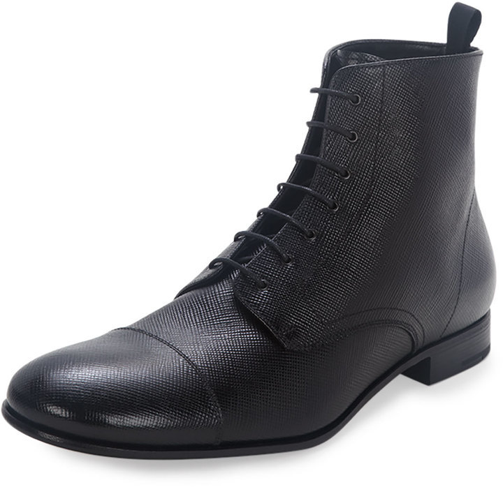 lace-up Saffiano boots - Black Prada Buy Cheap Low Shipping Fee Vghc2