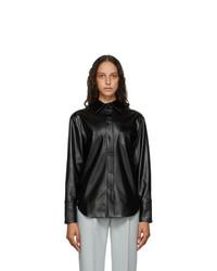 Materiel Tbilisi Black Faux Leather Button Shirt