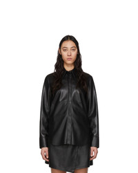 Nanushka Black Vegan Leather Noelle Shirt
