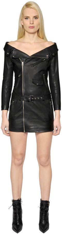 b0c40448f67f Faith Connexion Off The Shoulder Leather Biker Dress, $2,510 ...