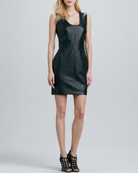 Robert Rodriguez Leather Front Sleeveless Dress