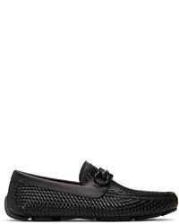 Salvatore Ferragamo Black Woven Gancini Moccasin Loafers