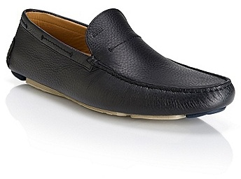 ... Hugo Boss Drinno Tumbled Leather Driving Loafers Black