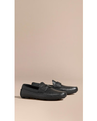 Burberry Grainy Leather Loafers With Engraved Check Detail