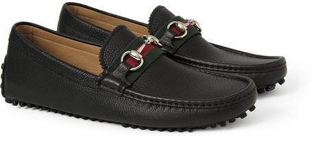 21b888685e ... Black Leather Driving Shoes Gucci Horsebit Full Grain Leather Driving  Shoes ...
