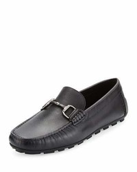 Ermenegildo Zegna Leather Bit Strap Driver Black