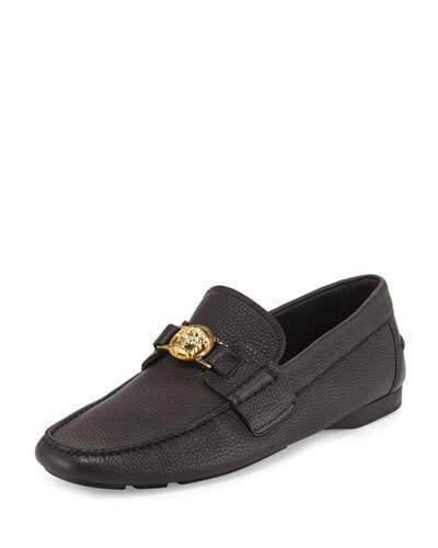 Versace Pebbled Leather Driver Wgolden