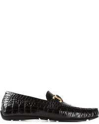 Versace Embossed Crocodile Effect Driving Shoes