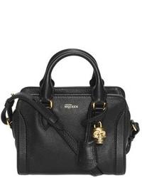 Alexander McQueen Mini Padlock Calfskin Leather Duffel Bag Black