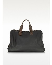 Black and brown genuine leather weekender medium 29384