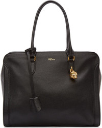Alexander McQueen Black Leather Padlock Duffle Bag