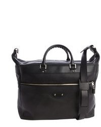 Balenciaga Black Leather Weekender Travel Bag